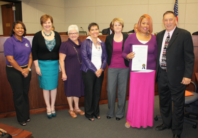 "President Tommy Martinez proclaimed October, 2014 as ""Domestic Violence Awareness Month"""