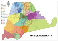 This map shows the fire department coverage areas throughout the parish.