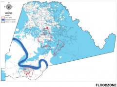 This map shows the floodzones throughout the parish.