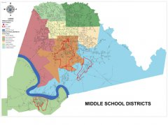"<span style=""text-align: center;"">This map shows the Middle schools and Middle School boundaries throughout the parish.</span>"